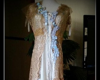 Beautiful Old World Bohemian One Of A Kind genuine antique and vintage trims and laces Size S-M