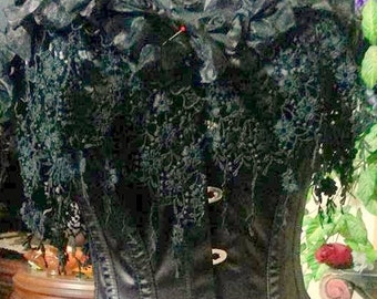 """BLACK Wisteria Hand Made """"Limited Edition"""" Beautiful Gothic Gown Dress Corset Skirt.Size M Bridal Wedding"""