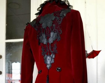 Deep Scarlet Velvet Coat with Jeweled Spider Venetian and Swiss laces . Gothic,goth,gypsy