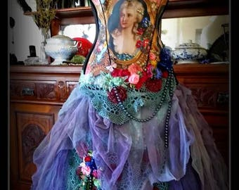 Etherial Bridal Wedding Gown Dress Genuine Vintage textiles Bohemian,Gothic Victorian,Fairy,Prom Formal Size S-M