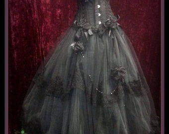 Black Tulle ballgown Bridal Wedding gown dress gothic goth boho bohemian old world Hand made Sizes S-2XL