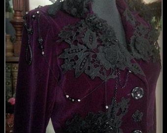 Purple Velvet CUSTOM made Coat Venetian & Swiss laces with silk and Glass Beading . Gothic,goth,gypsy SIZE S -M Other Sizes Can be Ordered