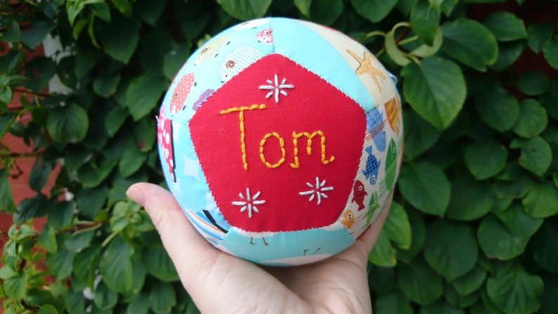 Baby shower gift handsewn customised patchwork ball hand image 0