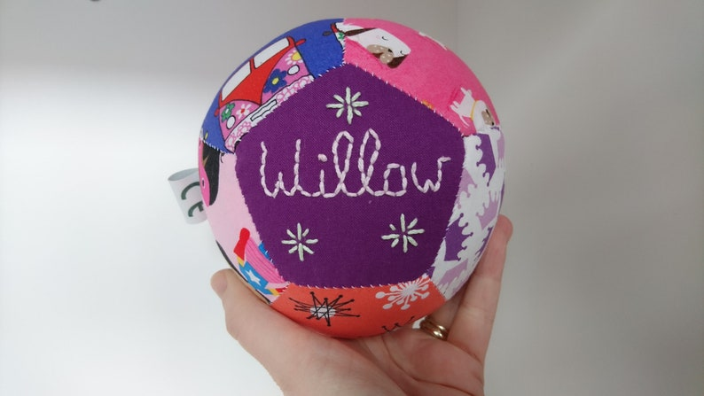 Personalised unique handsewn patchwork baby ball for baby girl image 0