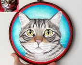 Custom Pet Portrait Hoop Art, Pet Portraits , Petlover Gift, Gift for Pet lovers,  Cat Hoop Art, Dog Hoop Art, Large Size 10""