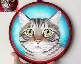 "Custom Pet Portrait Hoop Art, Pet Portraits , Petlover Gift, Gift for Pet lovers,  Cat Hoop Art, Dog Hoop Art, Large Size 10"""