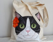 Cat  Tote Bag | Cat Lover Gift | Cat Tote | Pet Lover Gifts  | Tuxedo Cat Bag | Mother's Day Gift