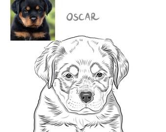 Digitally hand drawn Custom Dog  Portrait, Custom Pet Line Art, Pet Tattoo Art, Custom Pet Digital Illustration   DIGITAL FILE