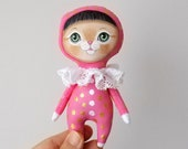 Cat Doll, hand painted art doll, pocket doll ,fabric doll , tiny doll, animal totem, cat lover gift