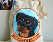 Custom Pet Tote | Custom Pet Portraits | Dog Tote | Cat Tote | Pet Lover Gifts | Personalized Pet Tote Bag |Pet Memorial | Gift for Dogmom