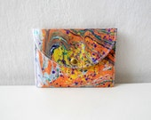 Business Card Holder, Credit Card Holder, Small Wallet, Hand Marbled orange purple snap closure wallet
