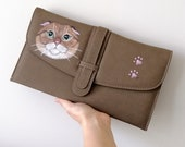Army Green  Cat Clutch, Handpainted Cat purse , Scottishfold cat painted bag,  gift for cat mom, for crazy cat ladies