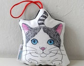 Cat  ormanent, stuffed toy,   mini animal pillow, cat home decor, ornament, nursery decor