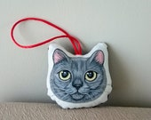 Gray Cat Ornament,  gift for cat lovers