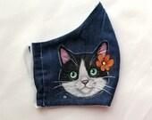 Tuxedo Cat Face Mask, Hand Painted Cat Portrait mask, Washable Face Mask,  Cat Face Mask, Cat Lover Face Mask,Washable Cotton Mask