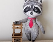 Raccoon Doll,  Hand Painted Raccoon doll, wild life animal totem, art doll,  pocket doll ,fabric doll, raccoon soft sculpture