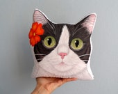 Floral Cat Plush Pillow, Tuxedo Cat Pillow, Cat head cushion, Hand Painted cat plush pillow
