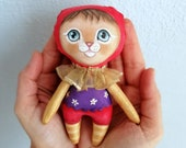 Golden Cat Doll, hand painted art doll, pocket doll ,fabric doll , tiny doll, soft sculpture, cat lover gift