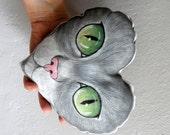 Cat  Plush Pillow,Heart shaped decorative pillow, Hand Painted kitty ornament,  nursery decor