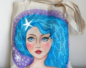Mermaid Girl Tote Bag | Girl Illustration Tote | Painted Tote  |Marine Summer  Tote Bag