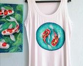 Koi Fishes  Tank Top, Hand Painted tshirt, Nautical Style Top, Sleeveless Women Top