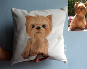 Custom Pet Painting  Pillow Cover ,  Dog Pillow, Cat Pillow, Full Body Painting - dog portrait , cat portrait , Pet Lover Gift, pet gifts