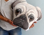 Pug Pillow,  Custom dog pillow,  Custom Pet portraits , Personalized gift for pug lovers , dog lover gift