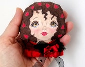 Love Girl Brooch, Hand Painted  anime girl doll brooch,  textile art brooch, rag doll brooch, valentines day gift