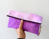 Purple Pink Ombre Clutch/ Ombre zipper Pouch/ Summer fashion accessory