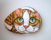 Yellow Ginger  Cat  Painted Pet Rock,  for pet lovers cat lovers, stone art, paper weight, collectibles