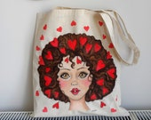 Love Girl Tote Bag | Girl Illustration Tote | Painted Tote  | Girly Tote Bag