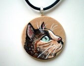 Calico Cat Necklace,  Hand Painted  Wood  pendant ,   gift  for cat lovers, pet lovers