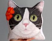 Tuxedo Cat Pillow, Cat head cushion, Floral Cat pillow, Hand Painted cat plush pillow chr,stmas gift