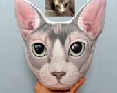Sphynx Cat  Pillow, Personalized gifts, Custom cat pillows, gift for pet lovers, cat head pillow, gift for cat lovers, cat lady gift