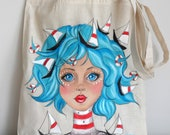 Sailor Girl Tote Bag | Girl Illustration Tote | Nautical Tote  |Marine Bag, Summer  Tote Bag
