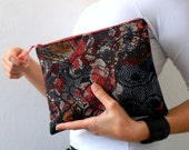 Floral  Clutch, Boho Chic Floral Velvety Zipper Clutch Pouch, floral spring fashion