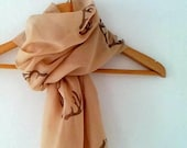 Wide Antler Scarf in Beige Camel  , woodland cotton yemeni  scarf, hand stamped lightweight scarf, spring fashion, wedding accessory