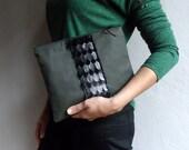 Army Green Linen Clutch with Black Faux Fur , Women Clutch, Boho Fashion