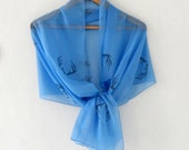 Antler Scarf  in Blue, woodland cotton yemeni Wide  scarf, hand stamped lightweight scarf, spring fashion, wedding accessory