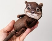 Sea Otter Doll, hand painted art doll, pocket doll ,fabric doll , tiny doll, animal totem, sea  otter art doll