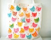 Tote Bag , Handpainted Pop Art  Cat Tote Bag