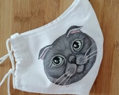 Scottish Fold Face Mask, Hand Painted Cat Face mask, Washable Face Mask, Scottish Fold Cat Face ,Washable Cotton Mask, cat lover mask