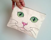 Cat Pouch, Cat Bag, Cat Clutch, Hand Painted  Cat Canvas Zip Pouch / Make up bag / cosmetic bag, Crazy Cat Lady gift, Cute Cat gifts