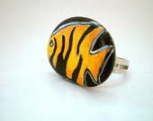 SALE- Angel Fish Hand Painted  Pebble Ring, adjustable , unique wearable art, stone painting