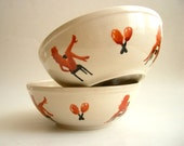 Naughty Dancers - Hand painted Bowl Set of Two, Whimsical sexy bowl set