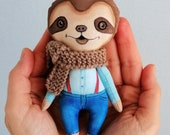 Tiny Sloth Doll, hand painted art doll, pocket doll ,fabric doll , tiny doll, animal totem, sloth lover gift