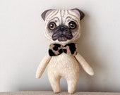 Pug Doll,  Hand Painted Pug dog, animal totem art doll, pocket doll ,fabric doll , gift for pug lover, for pug mom, pug dad,dog lover gift