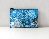 Hand Marbled  Blue Zipper Pouch - Galactic Blue - Model 6,  cosmetic bag / travel bag / make up bag