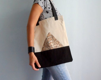 Cotton Tote Bag  with Metallic Snake Skin Triangle ,  Beige Black  Tote