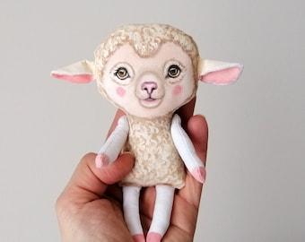 Lamb Doll, hand painted art doll, pocket doll ,fabric doll , tiny doll, animal totem, lamb cloth doll
